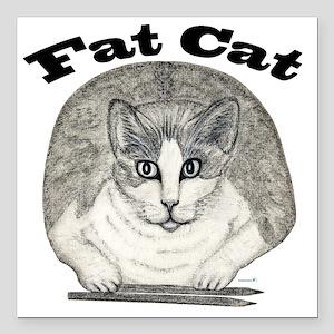 "Fat Cat Square Car Magnet 3"" x 3"""