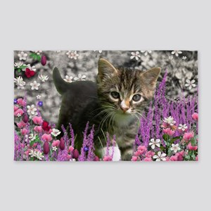 Emma Tabby Kitten in Flowers I 3'x5' Area Rug