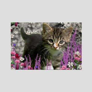 Emma Tabby Kitten in Flowers I Rectangle Magnet