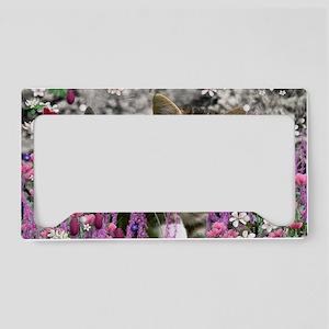 Emma Tabby Kitten in Flowers  License Plate Holder
