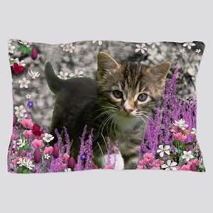 Emma Tabby Kitten in Flowers I Pillow Case