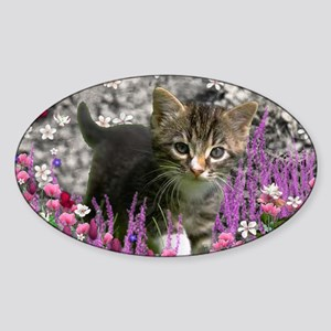 Emma Tabby Kitten in Flowers I Sticker (Oval)