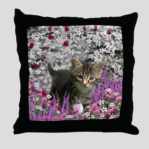 Emma Tabby Kitten in Flowers I Throw Pillow