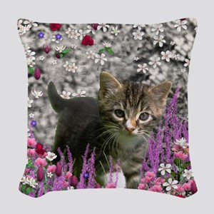 Emma Tabby Kitten in Flowers I Woven Throw Pillow