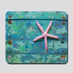 Starfish and Turquoise Seashore Mousepad