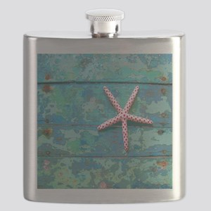 Starfish and Turquoise Seashore Flask