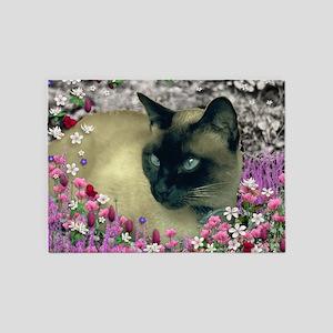 Stella Siamese Cat in Flowers I 5'x7'Area Rug