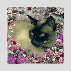 Stella Siamese Cat in Flowers I Queen Duvet