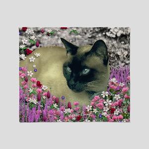 Stella Siamese Cat in Flowers I Throw Blanket