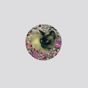 Stella Siamese Cat in Flowers I Mini Button