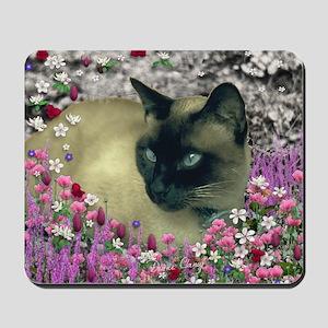 Stella Siamese Cat in Flowers I Mousepad