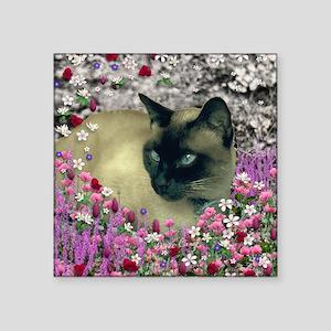 """Stella Siamese Cat in Flowe Square Sticker 3"""" x 3"""""""