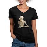 Skeleton Pal Women's V-Neck Dark T-Shirt