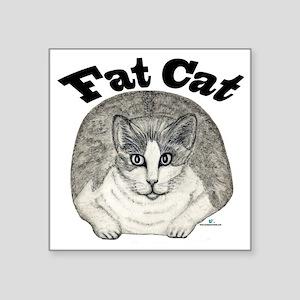 "Fat Cat Square Sticker 3"" x 3"""