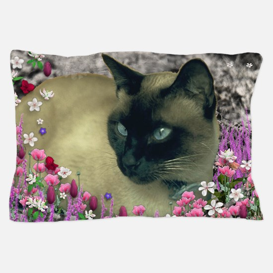 Stella Chocolate Point Siamese Flowers Pillow Case