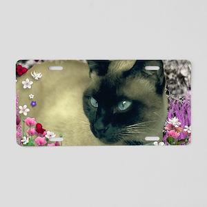 Stella Siamese Cat in Flowe Aluminum License Plate