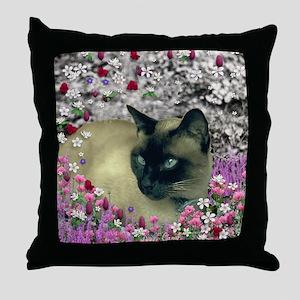 Stella Chocolate Point Siamese Flower Throw Pillow