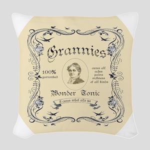 Grannies wonder tonic Woven Throw Pillow