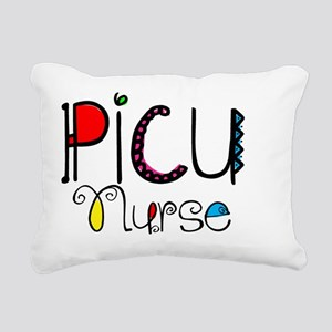 PICU Nurse Doodle Font Rectangular Canvas Pillow