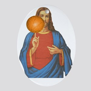 Jesus Christ Basketball Star Oval Ornament