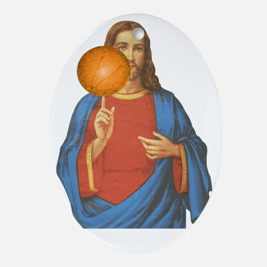 Jesus Christ Basketball Star Oval Ornament