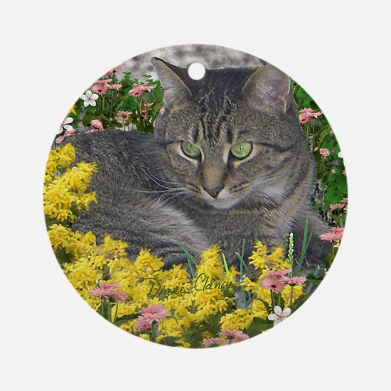 Mimosa the Tiger Cat in Mimosa Flow Round Ornament