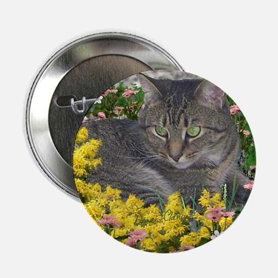 """Mimosa the Tiger Cat in Mimosa Flower 2.25"""" Button"""