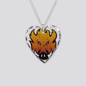 Flaming Hog Head Necklace Heart Charm
