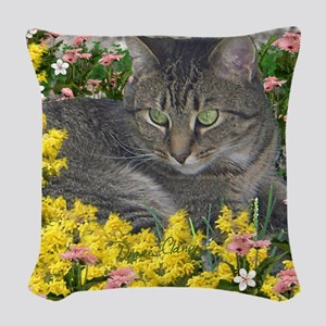 Mimosa the Tiger Cat in Mimosa Woven Throw Pillow