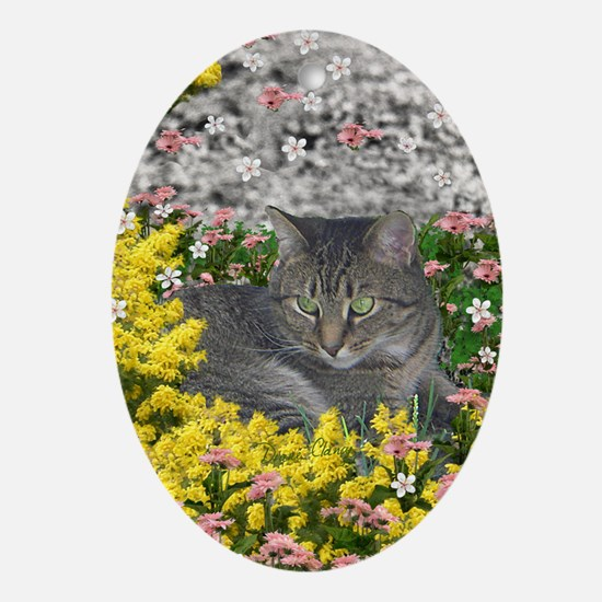 Mimosa the Tiger Cat in Mimosa Flowe Oval Ornament