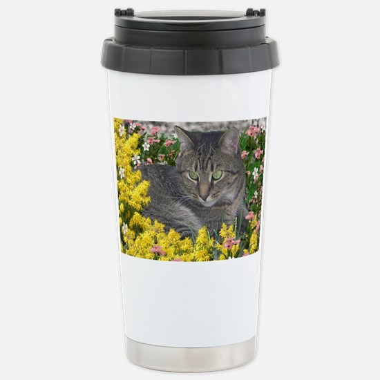 Mimosa the Tiger Cat in Stainless Steel Travel Mug