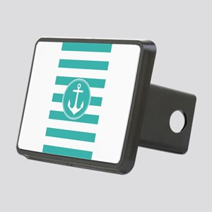 Turquoise nautical anchor stripes Hitch Cover