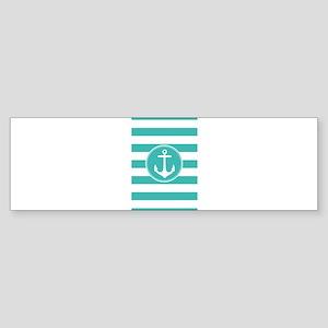 Turquoise nautical anchor stripes Bumper Sticker