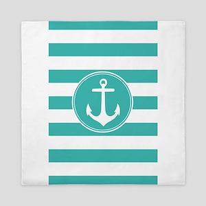 Turquoise nautical anchor stripes Queen Duvet