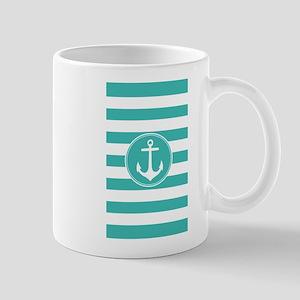 Turquoise nautical anchor stripes Mugs