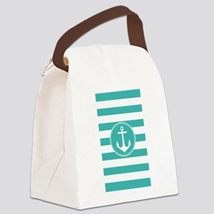 Turquoise nautical anchor stripes Canvas Lunch Bag