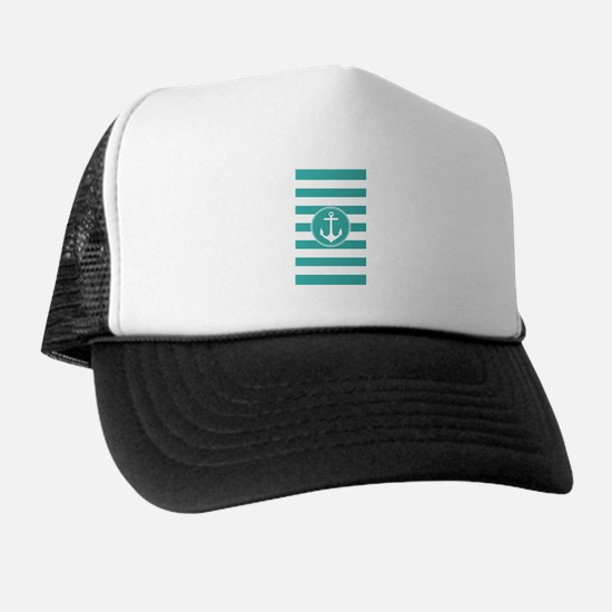 Turquoise nautical anchor stripes Trucker Hat