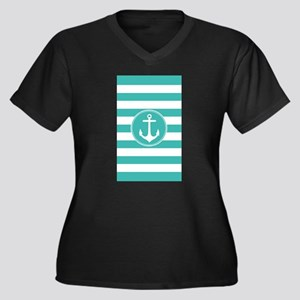 Turquoise nautical anchor stripes Plus Size T-Shir