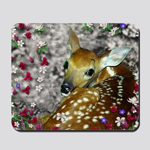 Bambina the Fawn in Flowers I Mousepad