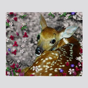 Bambina the Fawn in Flowers I Throw Blanket