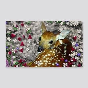 Bambina the Fawn in Flowers I 3'x5' Area Rug