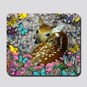Bambina the Fawn in Butterflies Mousepad