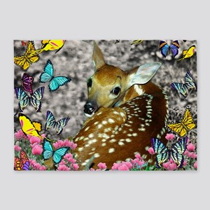 Bambina the Fawn in Butterflies 5'x7'Area Rug