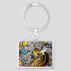 Bambina the Fawn in Butterflies Landscape Keychain