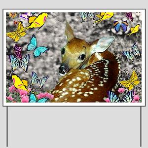 Bambina the Fawn in Butterflies Yard Sign