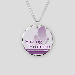 Saving Promise with large bu Necklace Circle Charm