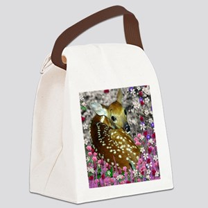 Bambina the Fawn in Flowers II Canvas Lunch Bag