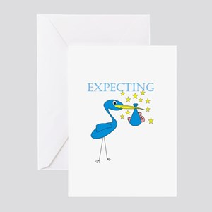 Expecting Blue Stork Greeting Cards (Pk of 10)
