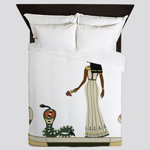 Egyptian God with snake on boat Queen Duvet