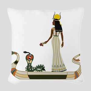 Egyptian God with snake on boa Woven Throw Pillow